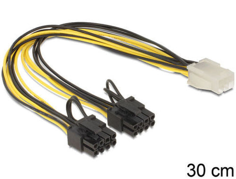 Delock Cable PCIexpress power supply 6pin female>2x8pin male 12V 2pins removable - Optiwire.ie