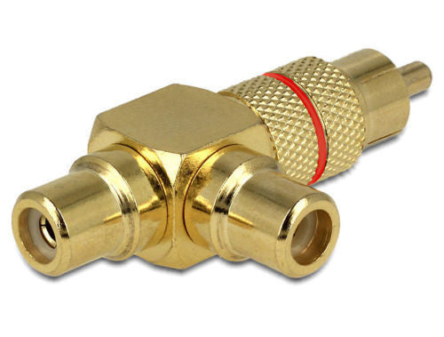 Double RCA output 1 x RCA plug > 2xRCA Female sockets (one angled @ 90°) adapter - Optiwire