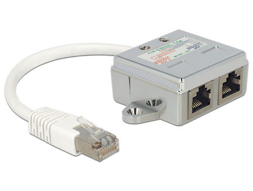 Delock RJ45 Port Doubler 1 x RJ45 male > 2 x RJ45 female (1x Ethernet, 1x ISDN) - Optiwire - 1