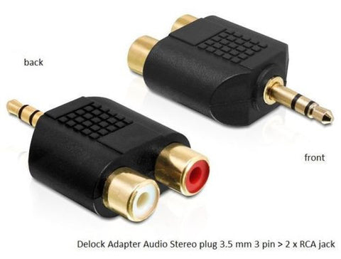 Delock Adapter Audio Stereo plug 3.5 mm 3 pin > 2 x RCA jack black gold-plated - Optiwire.ie