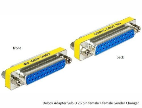 Delock DB-25 D-sub adapter Gender Changer Sub-D female > female with screw nuts - Optiwire.ie