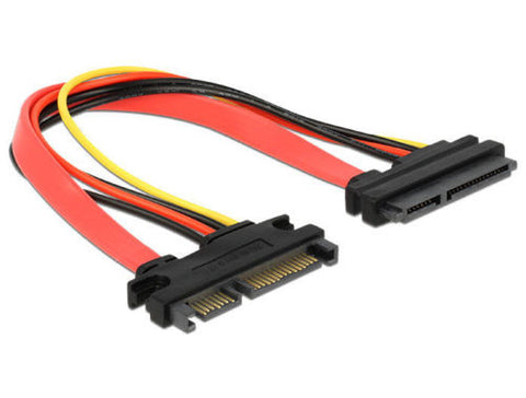 Delock SATA 22 pin Extension cable 20cm extend SATA power and data interface - Optiwire