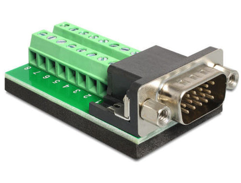 Delock Adapter VGA male > Terminal Block 16 pin Pitch 3.81 mm anti-slip isolated - Optiwire.ie