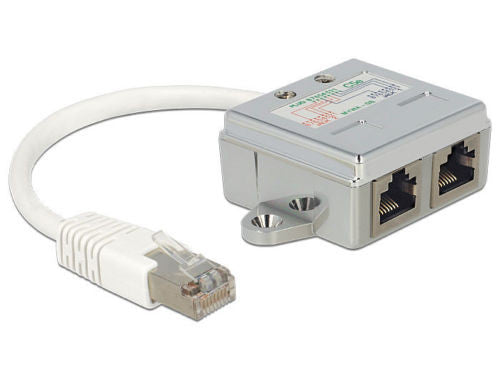 Delock RJ45 Port Doubler 1 x RJ45 male > 2 x RJ45 female (2 x Ethernet) 10/100MB - Optiwire - 1