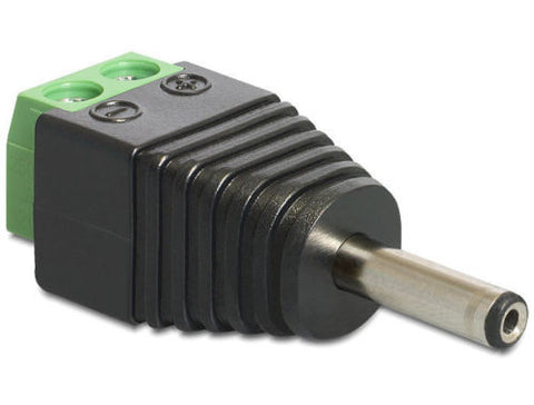 Terminal block 2pin >DC 1.3x3.5mm male plug adapter Pitch 5.0mm DC pin 11mm long - Optiwire
