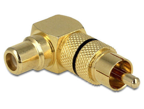 Angled RCA adapter for difficult to access RCA socket 1xRCA male > female at 90° - Optiwire.ie
