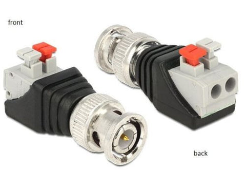 Delock Adapter BNC male > Terminal Block push button 2pin screwless Pitch 5.0 mm - Optiwire.ie