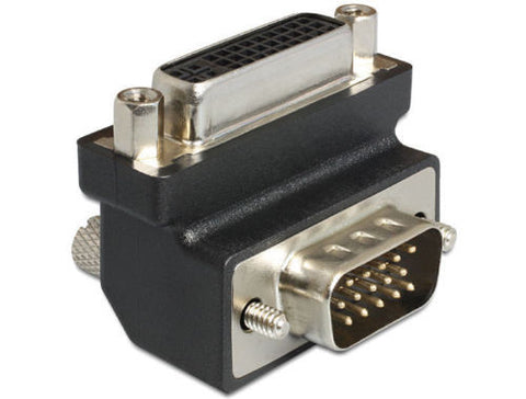 Delock Adapter DVI 24+5 pin female > VGA 15 pin male 270° angled with screws - Optiwire.ie