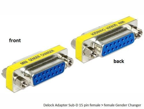 Delock DA-15 D-sub adapter Gender Changer Sub-D female > female with screw nuts - Optiwire.ie