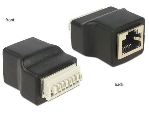 Delock Adapter RJ45 female > Terminal Block pushbutton 8pin connect single wires - Optiwire.ie