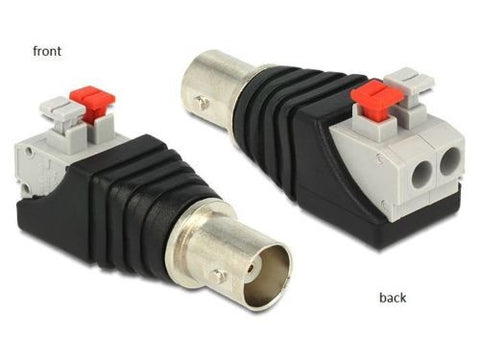 Delock Adapter BNC female > Terminal Block pushbutton 2pin screwless Pitch 5.0mm - Optiwire.ie