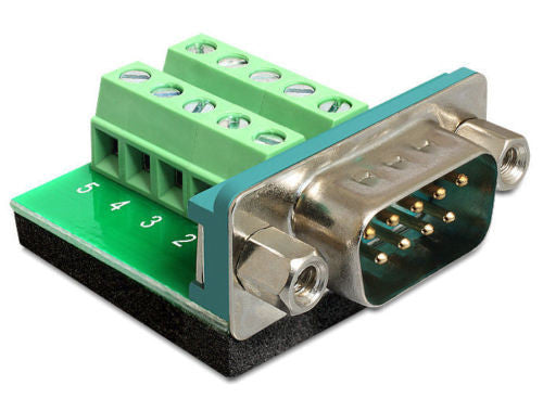 Delock Adapter Sub-D 9pin male > Terminal block 10pin / Serial to Terminal block - Optiwire