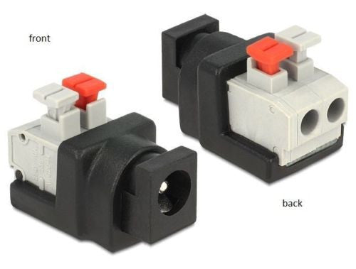 Delock Adapter DC 5.5 x 2.1mm female > Terminal Block push button screwless 2pin - Optiwire.ie