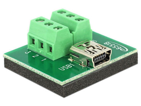 Delock Adapter Mini USB female > Terminal Block 6 Pin antislip pad Pitch 3.81 - Optiwire.ie
