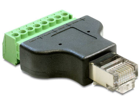 Delock Adapter RJ45 male > Terminal Block 8 pin removable / connect single wires - Optiwire.ie
