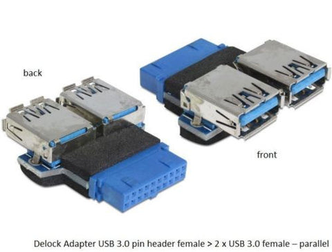 USB 3.0 pin header female > 2 x USB3.0 female parallel adapter connect MB > usb3 - Optiwire