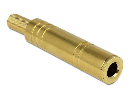 Delock metal 6.35 mm stereo jack connector with bend/cable protection goldplated - Optiwire.ie