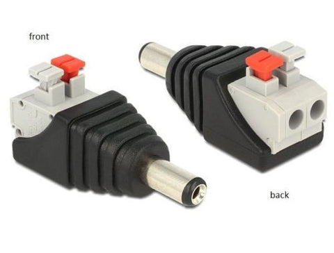 Delock Adapter DC 5.5 x 2.1mm male > Terminal Block push button screwless 2 pin - Optiwire.ie