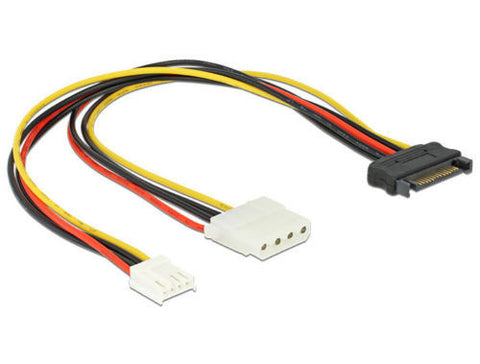 Delock Cable Y- Power SATA male 15 pin > 4pin Molex female + 4pin floppy 30cm - Optiwire.ie