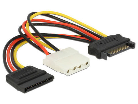 Delock Cable Power SATA 15pin male > Molex 4pin female + SATA 15pin female 16 cm - Optiwire.ie