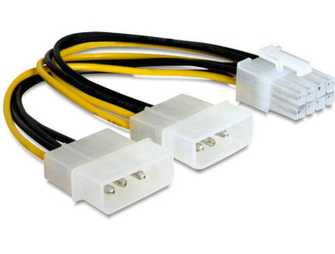 "Delock Cable PCI Express power supply 8pin > 2x 5¼"" for graphics card 12V 15cm - Optiwire.ie"