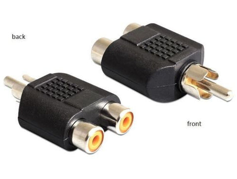 Convert RCA stereo to mono adapter RCA 2 x female > RCA 1 x male nickel plated - Optiwire.ie