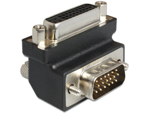 Delock Adapter DVI 24+5 pin female > VGA 15 pin male 90° angled with screws & nu - Optiwire.ie