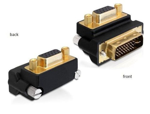 Delock Adapter VGA female > DVI 24+5 pin male 270° angled with screws DVI PC>VGA - Optiwire.ie
