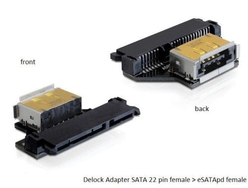 Delock Adapter SATA 22pF > eSATApd F convert SATA HDD port into power over eSATA - Optiwire.ie
