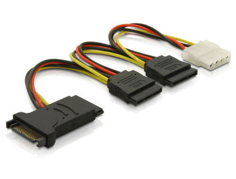 Delock Cable Power SATA 15 pin > 3 x SATA HDD + 4pin IDE / add extra power ports - Optiwire.ie