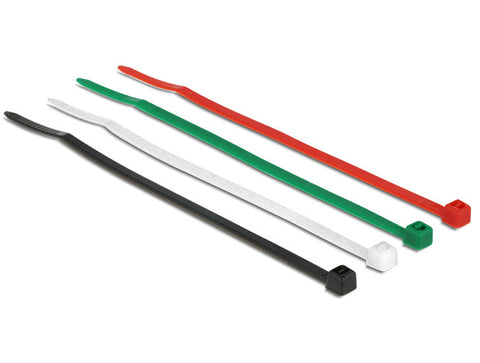 Delock Cable ties coloured L 100 x W 2.5 mm 200 pieces Nylon red green black - Optiwire.ie