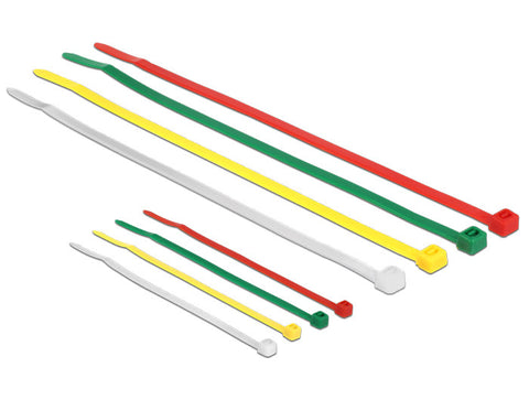 Delock Cable ties coloured L 100 x W 2.5 mm + L 200 x W 3.6 mm 200 pieces Nylon - Optiwire.ie
