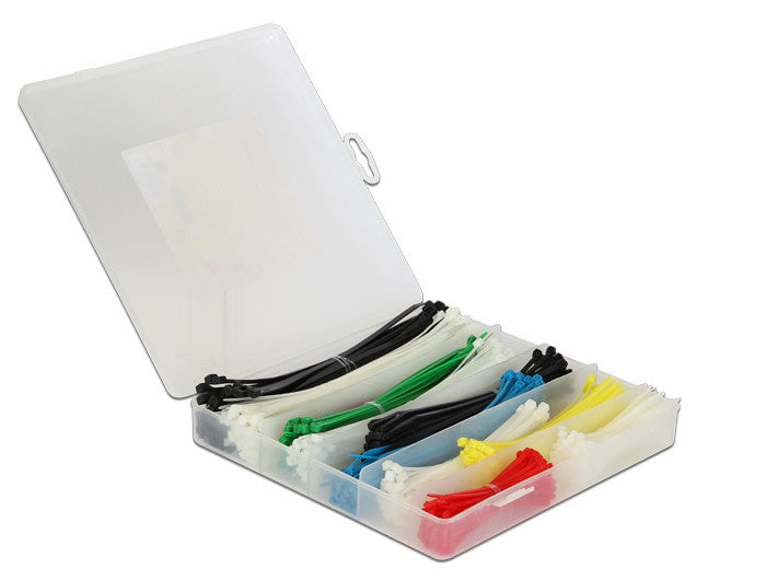 Delock Cable ties box 600 pieces coloured nylon66 with high isolation rate 94V-2 - Optiwire.ie