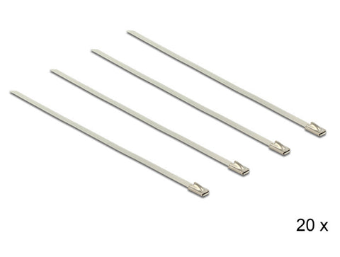 Delock Cable ties stainless steel L 200 x W 4.6 mm 20 pieces stainless steel V2A - Optiwire.ie