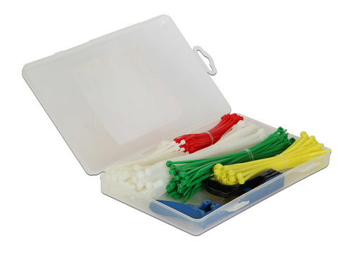 Delock Cable ties box 350 pieces coloured with installation tool Nylon 66 94V-2 - Optiwire.ie
