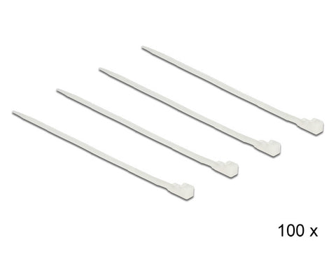 Delock Cable ties releasable white L 200 x W 4.8 mm 100 pieces Nylon 66 94V-2 - Optiwire.ie