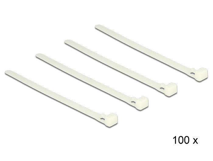 Delock Cable ties releasable white L 150 x W 7.2 mm 100 pieces Nylon 66 94V-2 - Optiwire.ie