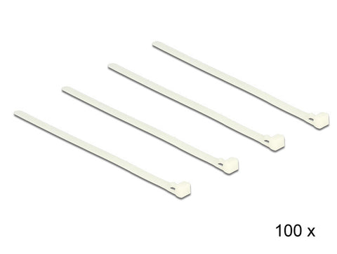 Delock Cable ties releasable white L 200 x W 7.2 mm 100 pieces Nylon 66 94V-2 - Optiwire.ie
