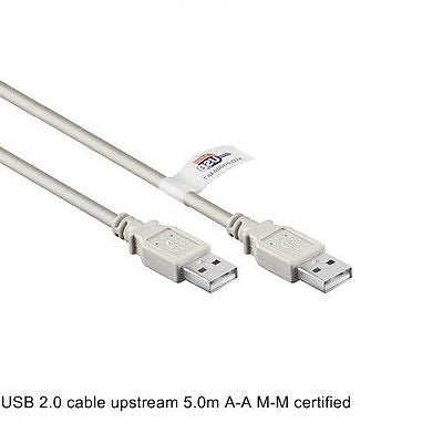 USB 2.0 certified type A male > male cable grey 5 m upstream RoHs compliant - Optiwire