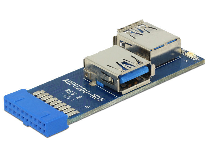 Delock USB3.0 Pin Header female > 2 x USB 3.0 female right / left expansion card - Optiwire - 1