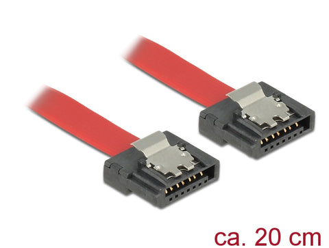 Delock SATA III data cable FLEXI 6 Gb/s 20 cm red metal 28 AWG 7pin m-m straight