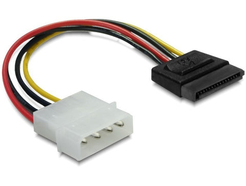Delock Power Cable SATA HDD > 4 pin male – straight / convert Molex power > SATA - Optiwire - 1