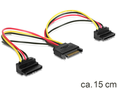 Delock Cable Power SATA 15pin > 2 x SATA HDD angled 90°downwards 15cm for 2 HDDs - Optiwire.ie