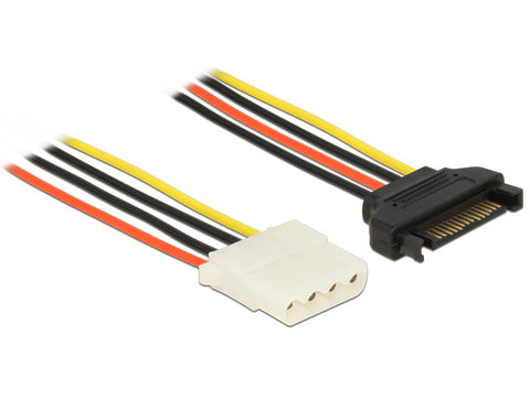 Delock Power Cable SATA 15 pin female > 4 pin IDE Molex female 20 cm 18 AWG HDD - Optiwire