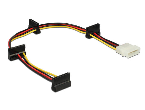 Delock Cable Power IDE Molex 4 pin plug > 4 x SATA 15 pin receptacle 40 cm 18AWG - Optiwire - 1