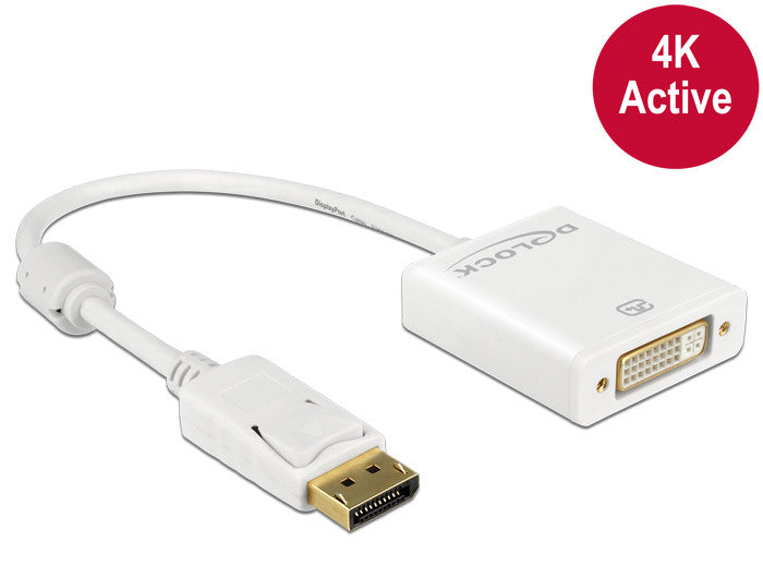 4K Delock Adapter Displayport 1.2 male > DVI female Active HDCP 1.3 Eyefinity DP - Optiwire.ie