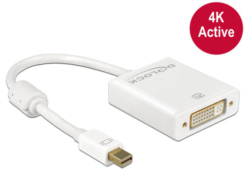 4K Delock Adapter mini Displayport 1.2 male > DVI female 4K Active HDCP white DP - Optiwire.ie