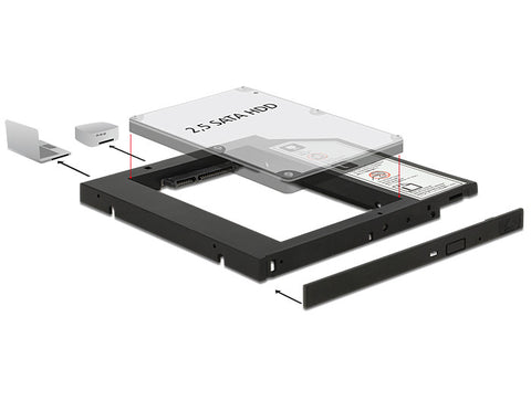 Delock Slim SATA 5.25″Installation Frame for 1 x 2.5″ SATA HDD / SSD up to 9.5mm - Optiwire - 1