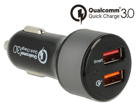 Navilock Car charger 2 x USB A F with Qualcomm® Quick Charge™ 3.0 well protected - Optiwire - 1