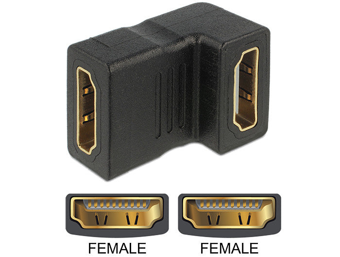 Delock Adapter HDMI female > HDMI female 90° downwards Gender Changer / Coupler - Optiwire.ie
